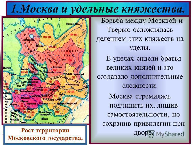 Меню Борьба между Москвой и Тверью осложнялась делением этих княжеств на уделы. В уделах сидели братья великих князей и это создавало дополнительные сложности. Москва стремилась подчинить их, лишив самостоятельности, но сохранив привилегии при дворе.