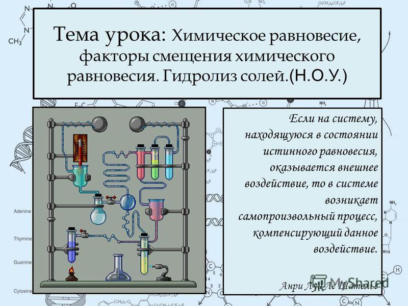 Тема урока: Химическое равновесие, факторы смещения химического равновесия. Гидролиз солей. (Н.О.У.) Если на систему, находящуюся в состоянии истинного равновесия, оказывается внешнее воздействие, то в системе возникает самопроизвольный процесс, комп