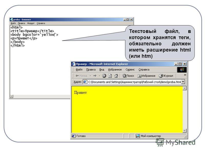 Текстовый файл, в котором хранятся теги, обязательно должен иметь расширение html (или htm)