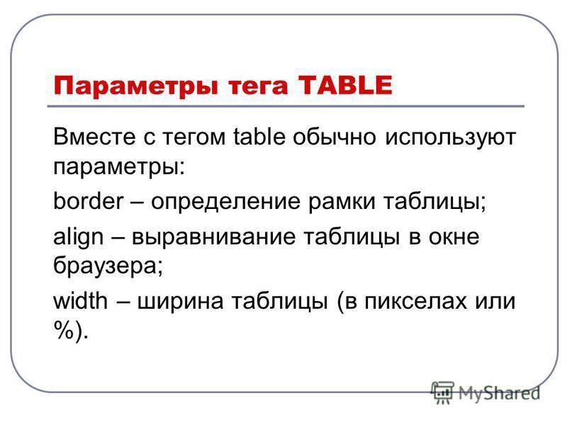Параметры тега TABLE Вместе с тегом table обычно используют параметры: border – определение рамки таблицы; align – выравнивание таблицы в окне браузера; width – ширина таблицы (в пикселах или %).