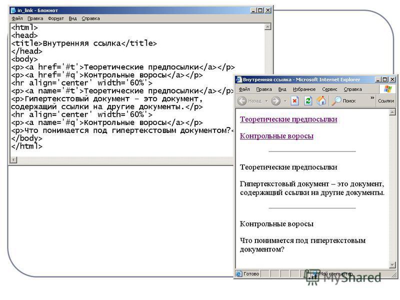 Как сделать внутреннюю ссылку html