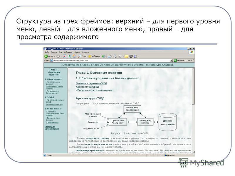 Структура из трех фреймов: верхний – для первого уровня меню, левый - для вложенного меню, правый – для просмотра содержимого