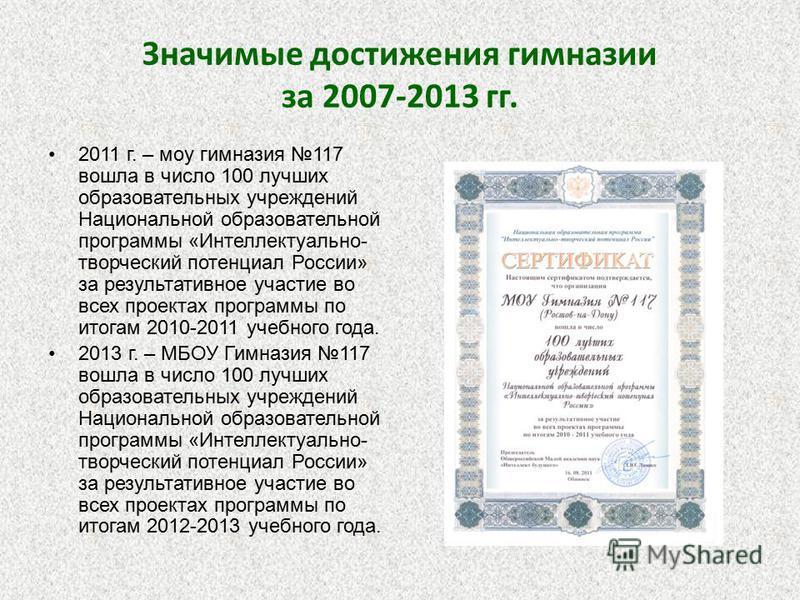 Значимые достижения гимназии за 2007-2013 гг. 2011 г. – моу гимназия 117 вошла в число 100 лучших образовательных учреждений Национальной образовательной программы «Интеллектуально- творческий потенциал России» за результативное участие во всех проек