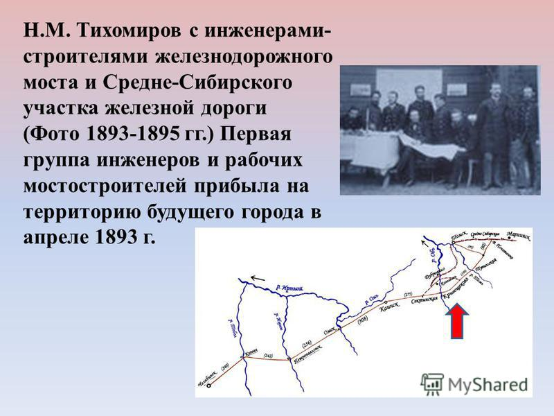 Н.М. Тихомиров с инженерами- строителями железнодорожного моста и Средне-Сибирского участка железной дороги (Фото 1893-1895 гг.) Первая группа инженеров и рабочих мостостроителей прибыла на территорию будущего города в апреле 1893 г.