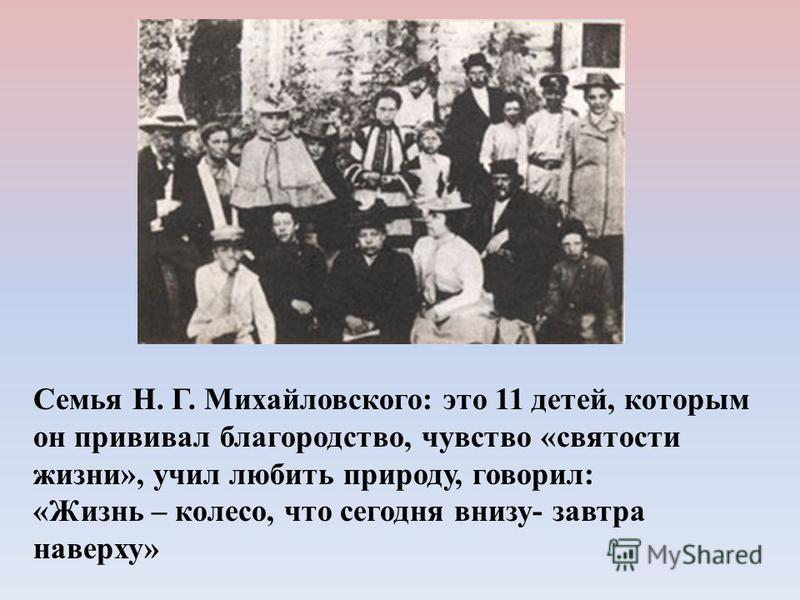 Семья Н. Г. Михайловского: это 11 детей, которым он прививал благородство, чувство «святости жизни», учил любить природу, говорил: «Жизнь – колесо, что сегодня внизу- завтра наверху»