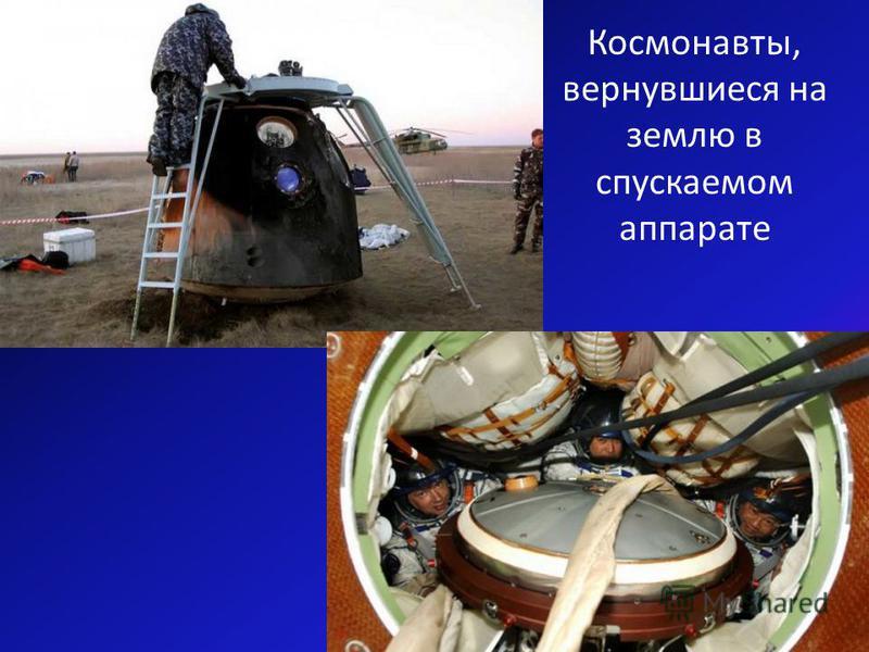 Космонавты, вернувшиеся на землю в спускаемом аппарате
