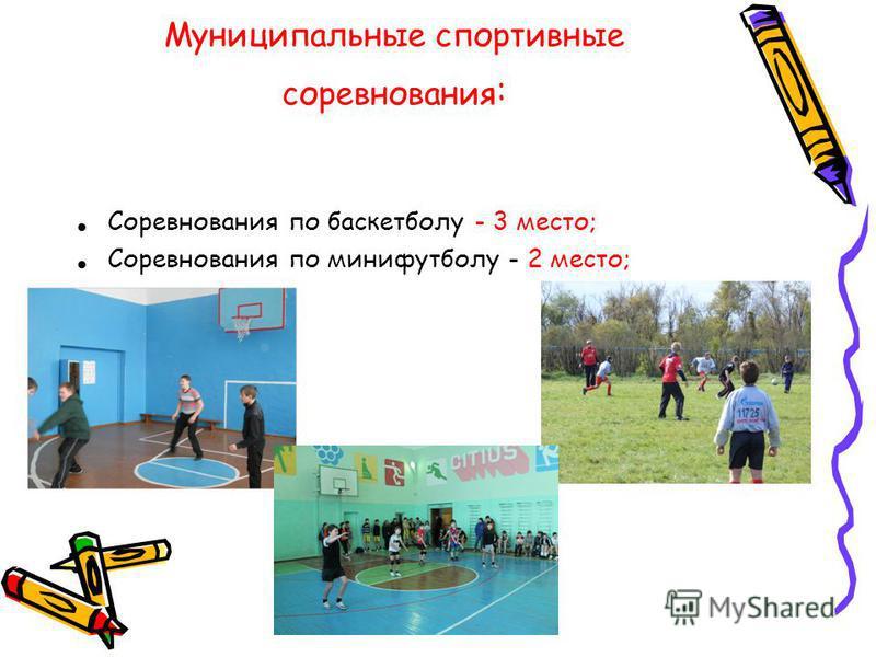 Муниципальные спортивные соревнования : Соревнования по баскетболу - 3 место; Соревнования по минифутболу - 2 место;