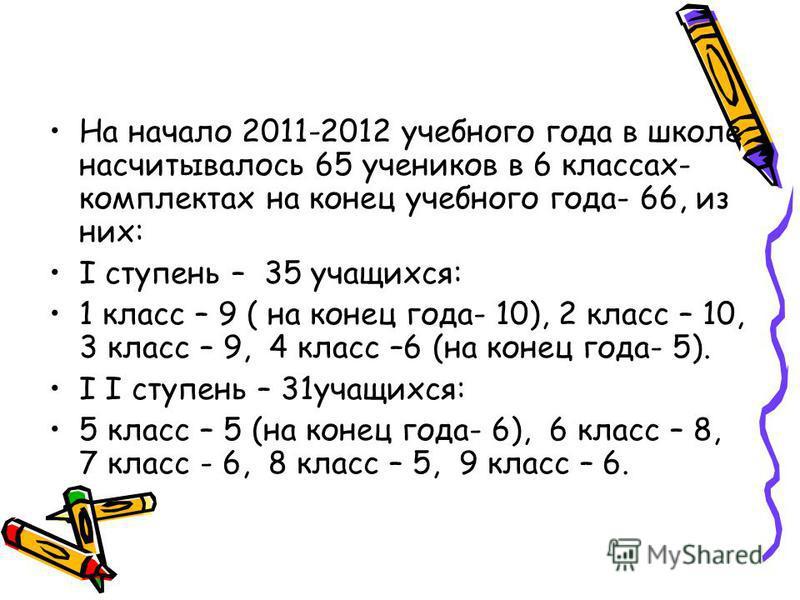 На начало 2011-2012 учебного года в школе насчитывалось 65 учеников в 6 классах- комплектах на конец учебного года- 66, из них: I ступень – 35 учащихся: 1 класс – 9 ( на конец года- 10), 2 класс – 10, 3 класс – 9, 4 класс –6 (на конец года- 5). I I с