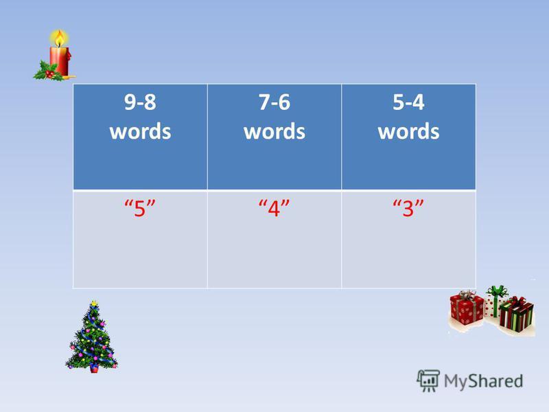 9-8 words 7-6 words 5-4 words 543
