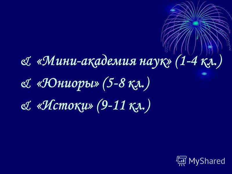 & «Мини-академия наук» (1-4 кл.) & «Юниоры» (5-8 кл.) & «Истоки» (9-11 кл.)
