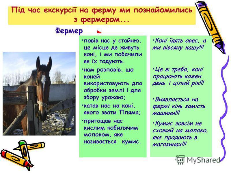 Під час екскурсії на ферму ми познайомились з фермером... повів нас у стайню, це місце де живуть коні, і ми побачили як їх годують. нам розповів, що коней використовують для обробки землі і для збору урожаю; катав нас на коні, якого звати Пляма; приг