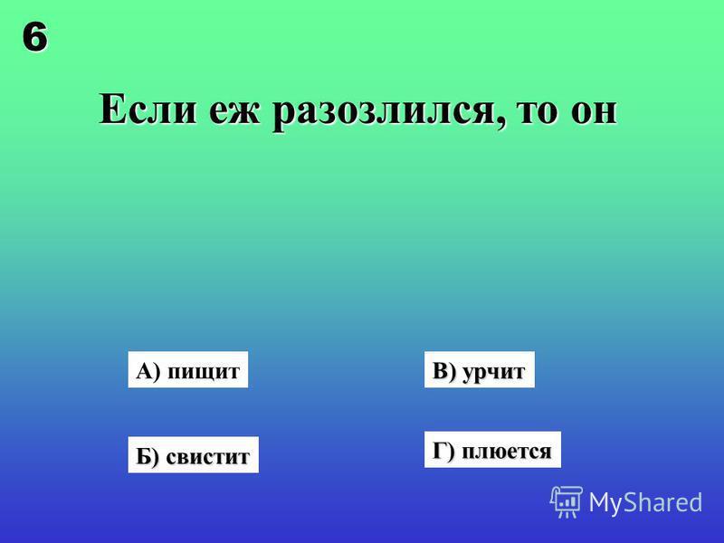 Если еж разозлился, то он А) пищит Б) свистит В) урчит Г) плюется 6