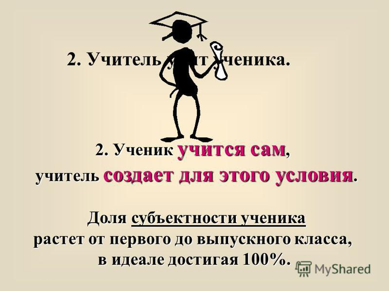 2. Учитель учит ученика. 2. Ученик учится сам, учитель создает для этого условия. Доля субъектности ученика растет от первого до выпускного класса, в идеале достигая 100%.