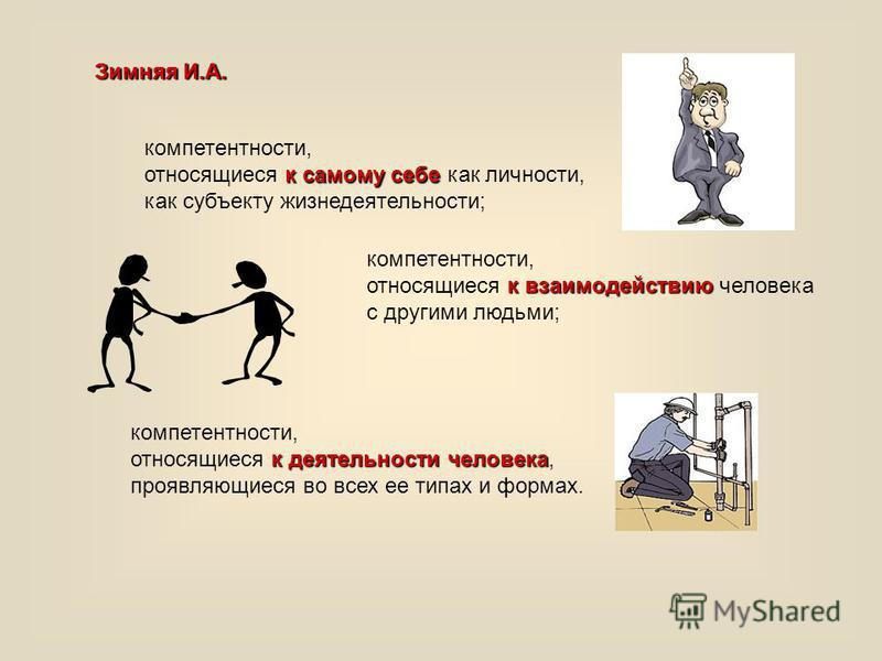 компетентности, к самому себе относящиеся к самому себе как личности, как субъекту жизнедеятельности; компетентности, к взаимодействию относящиеся к взаимодействию человека с другими людьми; компетентности, к деятельности человека относящиеся к деяте