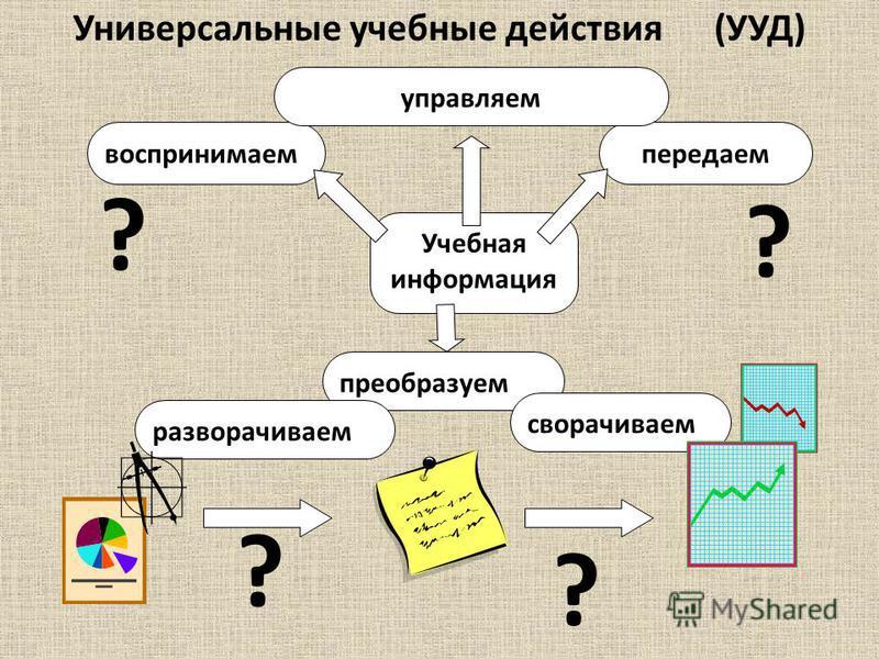 Учебная информация воспринимаем передаем преобразуем сворачиваем разворачиваем Универсальные учебные действия (УУД) ? ? ? ? управляем