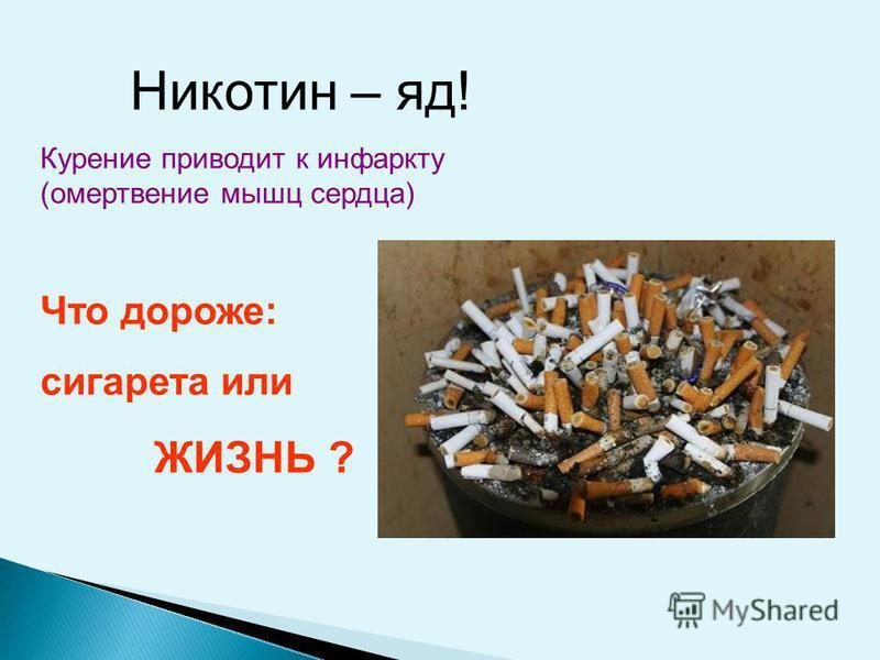 Никотин – яд! Курение приводит к инфаркту (омертвение мышц сердца) Что дороже: сигарета или ЖИЗНЬ ?