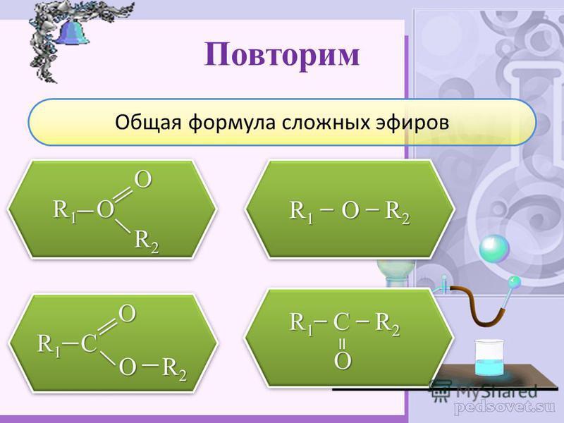 Повторим Общая формула сложных эфиров