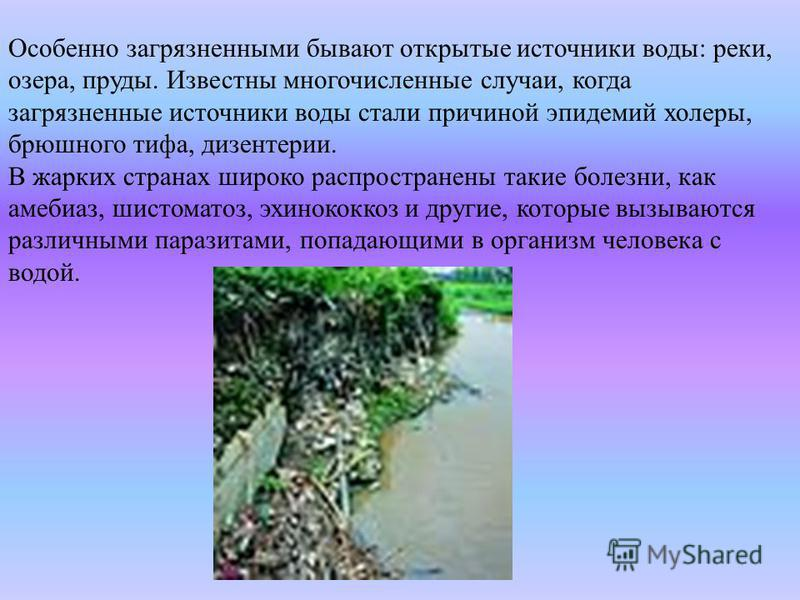 Особенно загрязненными бывают открытые источники воды: реки, озера, пруды. Известны многочисленные случаи, когда загрязненные источники воды стали причиной эпидемий холеры, брюшного тифа, дизентерии. В жарких странах широко распространены такие болез