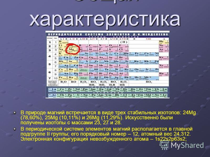 Общая характеристика магния В природе магний встречается в виде трех стабильных изотопов: 24Mg (78,60%), 25Mg (10,11%) и 26Mg (11,29%). Искусственно были получены изотопы с массами 23, 27 и 28. В периодической системе элементов магний располагается в