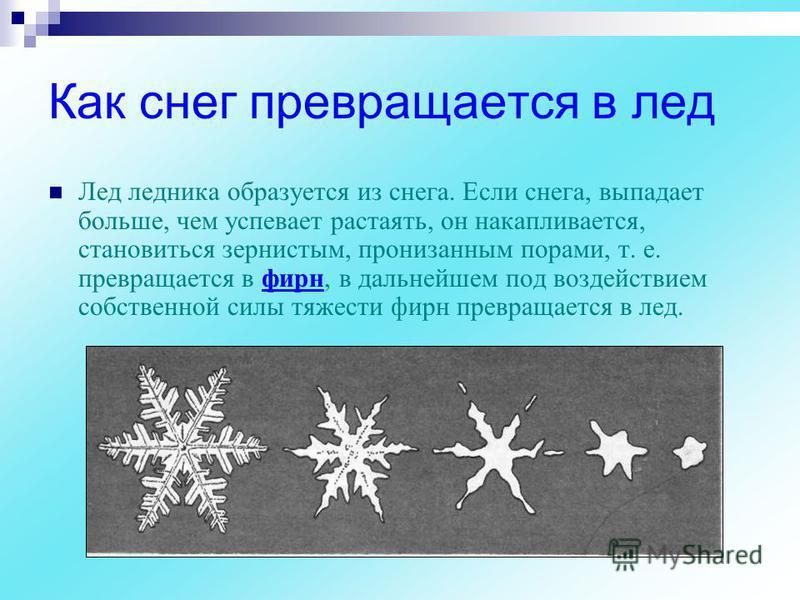 Как снег превращается в лед Лед ледника образуется из снега. Если снега, выпадает больше, чем успевает растаять, он накапливается, становиться зернистым, пронизанным порами, т. е. превращается в фирн, в дальнейшем под воздействием собственной силы тя