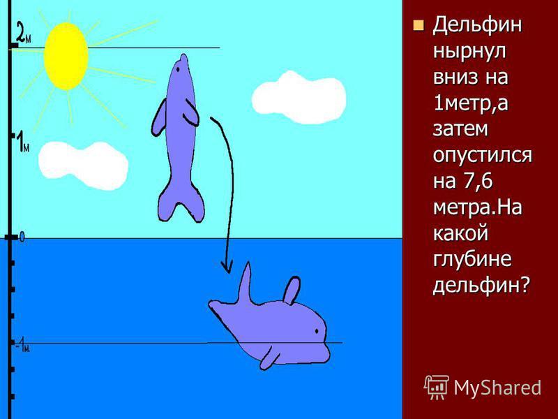 Дельфин нырнул вниз на 1 метр,а затем опустился на 7,6 метра.На какой глубине дельфин? Дельфин нырнул вниз на 1 метр,а затем опустился на 7,6 метра.На какой глубине дельфин?
