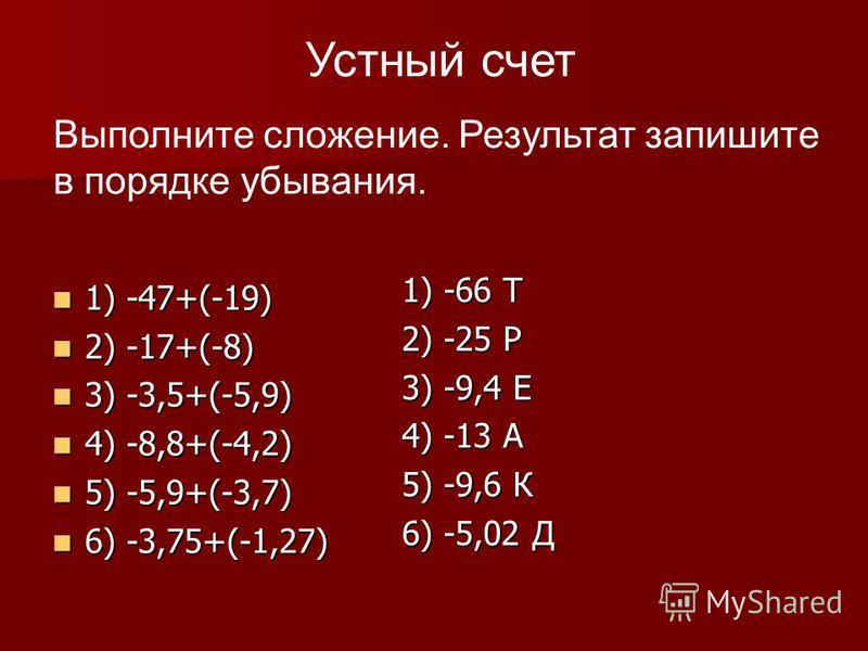 1) -47+(-19) 1) -47+(-19) 2) -17+(-8) 2) -17+(-8) 3) -3,5+(-5,9) 3) -3,5+(-5,9) 4) -8,8+(-4,2) 4) -8,8+(-4,2) 5) -5,9+(-3,7) 5) -5,9+(-3,7) 6) -3,75+(-1,27) 6) -3,75+(-1,27) 1) -66 Т 2) -25 Р 3) -9,4 Е 4) -13 А 5) -9,6 К 6) -5,02 Д Устный счет Выполн