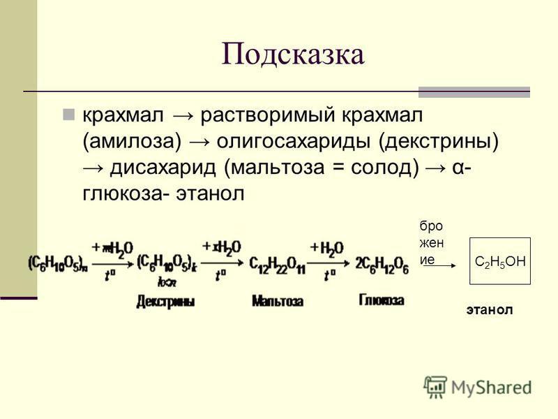 Подсказка крахмал растворимый крахмал (амилоза) олигосахариды (декстрины) дисахарид (мальтоза = солод) α- глюкоза- этанол С 2 H 5 OH брожение этанол