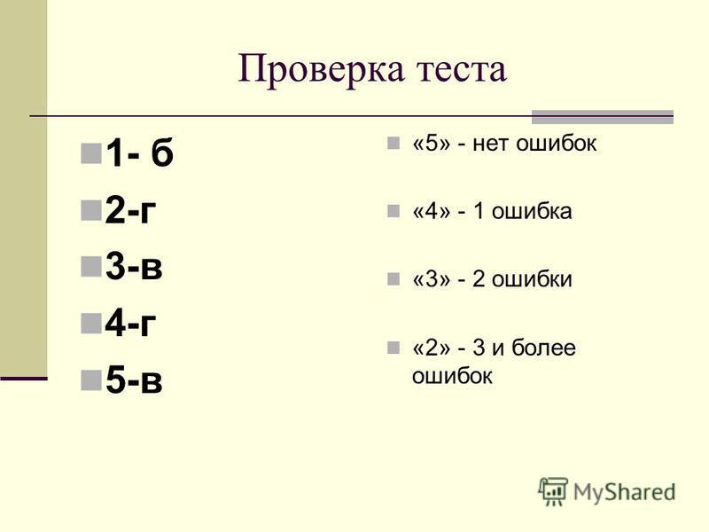 Проверка теста 1- б 2-г 3-в 4-г 5-в «5» - нет ошибок «4» - 1 ошибка «3» - 2 ошибки «2» - 3 и более ошибок