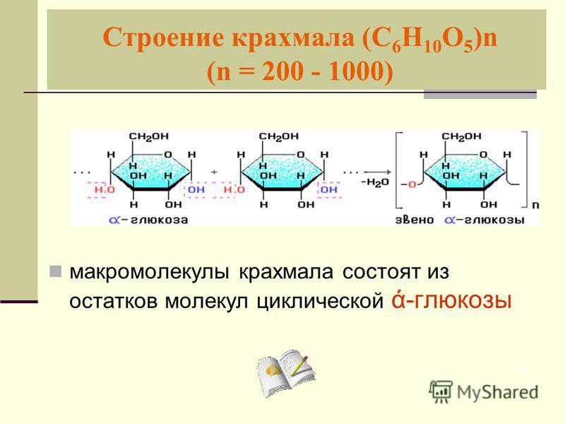 Строение крахмала (С 6 Н 10 О 5 )n (n = 200 - 1000) макромолекулы крахмала состоят из остатков молекул циклической ά-глюкозы 7