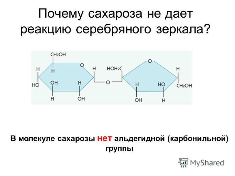 Почему сахароза не дает реакцию серебряного зеркала? В молекуле сахарозы нет альдегидной (карбонильной) группы