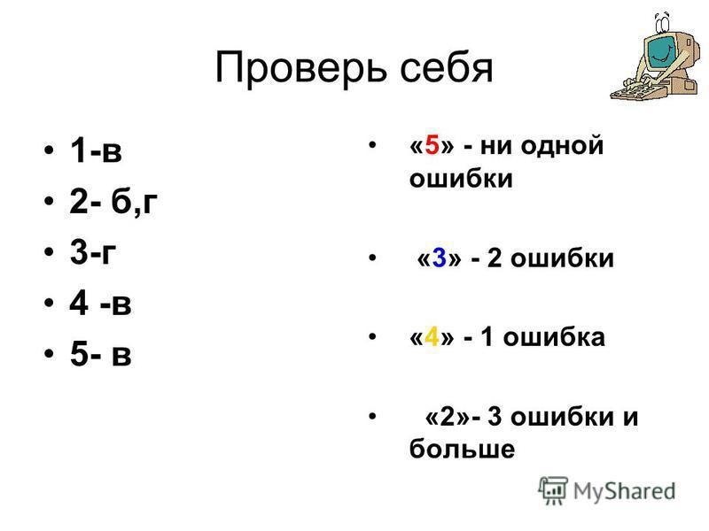 Проверь себя 1-в 2- б,г 3-г 4 -в 5- в «5» - ни одной ошибки «3» - 2 ошибки «4» - 1 ошибка «2»- 3 ошибки и больше