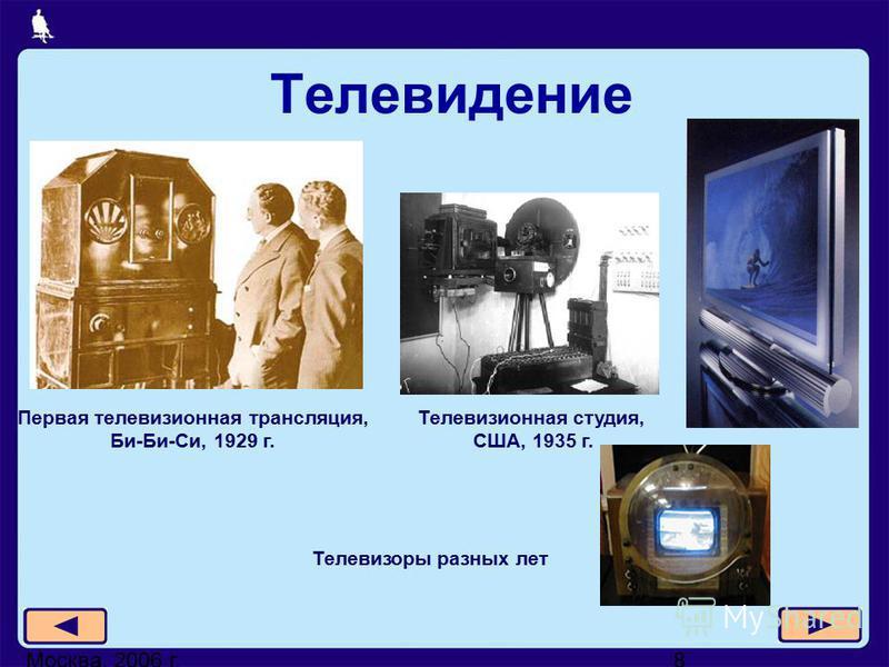 Москва, 2006 г.8 Телевидение Телевизоры разных лет Телевизионная студия, США, 1935 г. Первая телевизионная трансляция, Би-Би-Си, 1929 г.