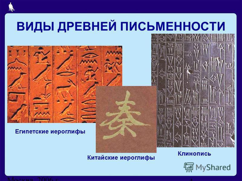 Москва, 2006 г. 4 ВИДЫ ДРЕВНЕЙ ПИСЬМЕННОСТИ Египетские иероглифы Китайские иероглифы Клинопись