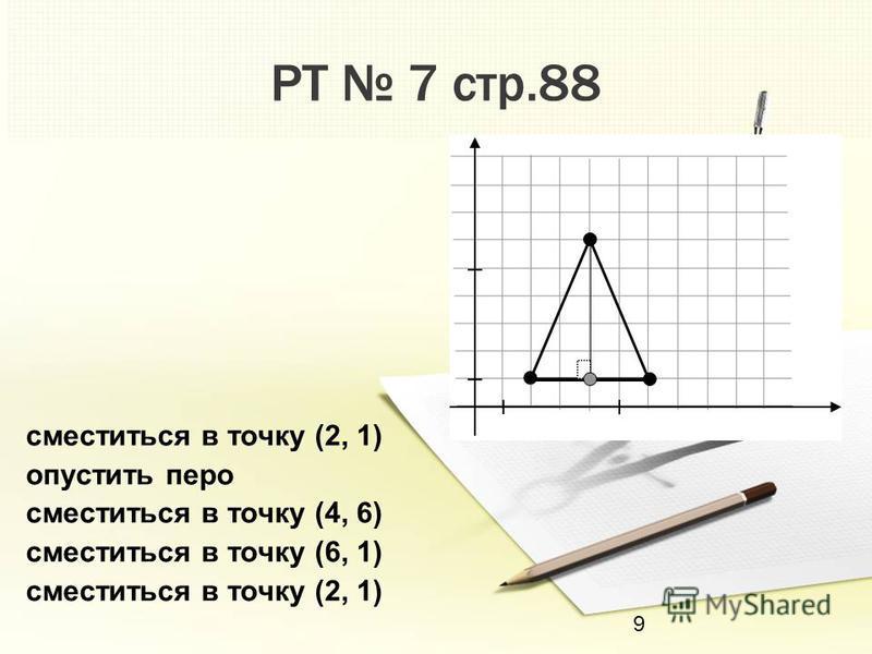 9 РТ 7 стр.88 сместиться в точку (2, 1) опустить перо сместиться в точку (4, 6) сместиться в точку (6, 1) сместиться в точку (2, 1)