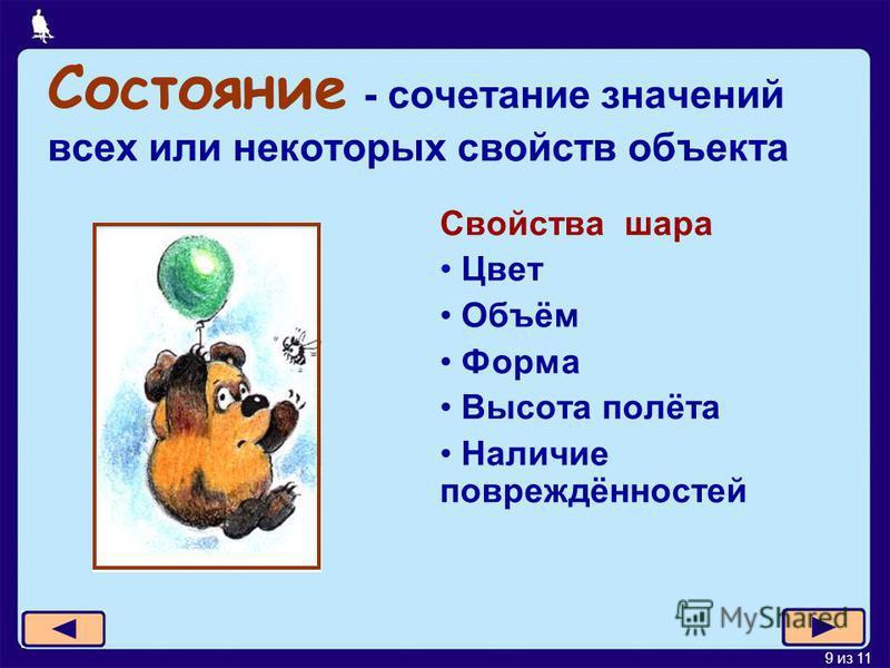 9 из 11 Состояние - сочетание значений всех или некоторых свойств объекта Свойства шара Цвет Объём Форма Высота полёта Наличие повреждённостей
