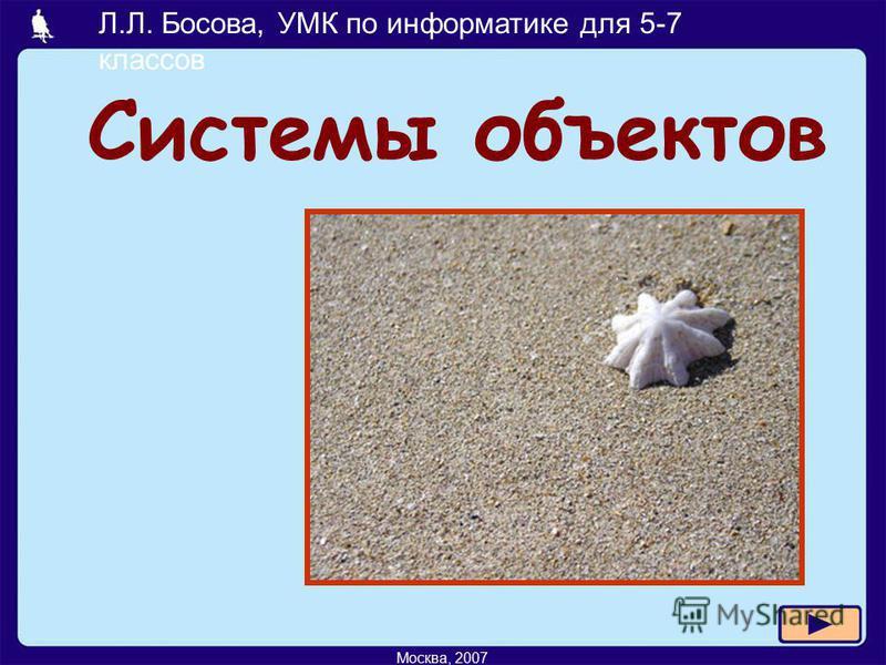 Л.Л. Босова, УМК по информатике для 5-7 классов Москва, 2007 Системы объектов