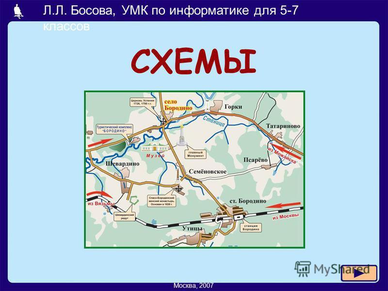 Л.Л. Босова, УМК по информатике для 5-7 классов Москва, 2007 СХЕМЫ