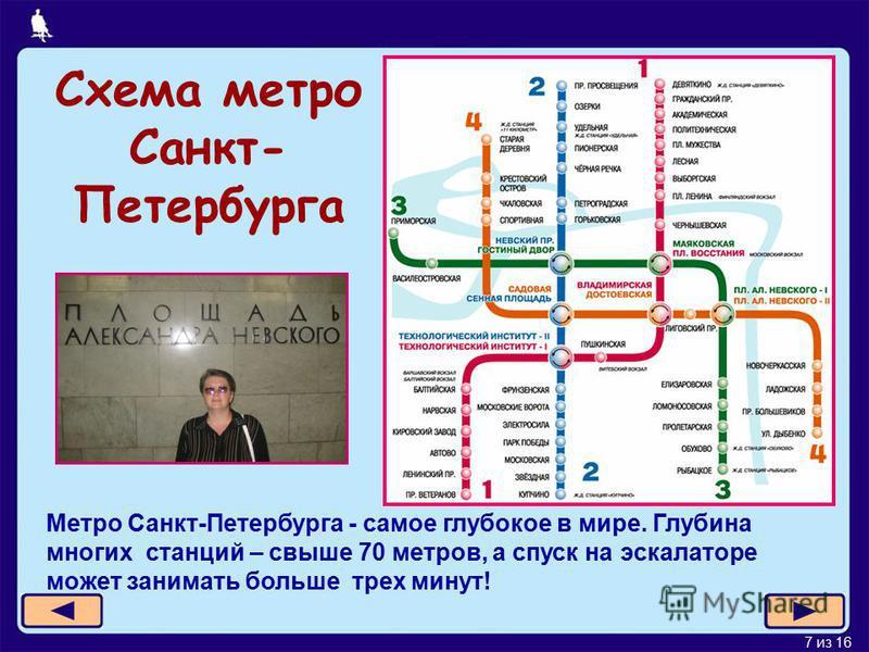 7 из 16 Схема метро Санкт- Петербурга Метро Санкт-Петербурга - самое глубокое в мире. Глубина многих станций – свыше 70 метров, а спуск на эскалаторе может занимать больше трех минут!