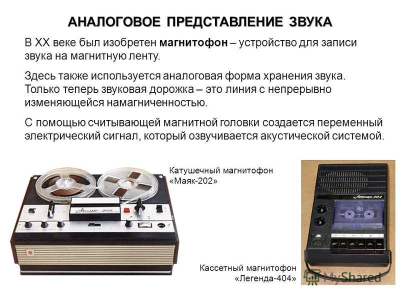 АНАЛОГОВОЕ ПРЕДСТАВЛЕНИЕ ЗВУКА В ХХ веке был изобретен магнитофон – устройство для записи звука на магнитную ленту. Здесь также используется аналоговая форма хранения звука. Только теперь звуковая дорожка – это линия с непрерывно изменяющейся намагни