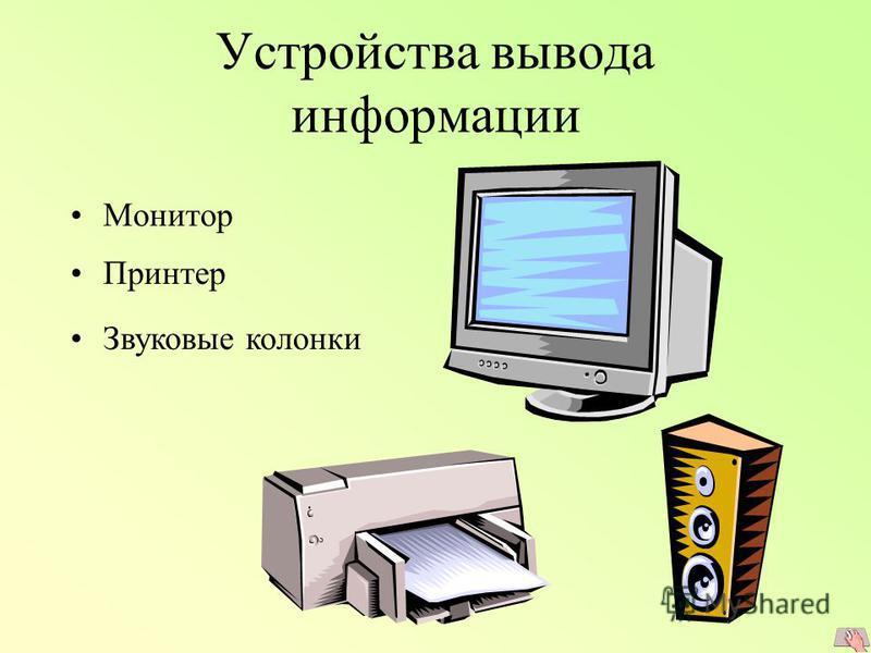 Устройства вывода информации Монитор Принтер Звуковые колонки