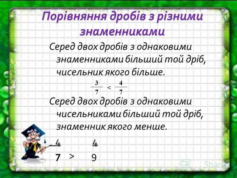 Порівняння дробів з різними знаменниками Серед двох дробів з однаковими знаменниками більший той дріб, чисельник якого більше. Серед двох дробів з однаковими чисельниками більший той дріб, знаменник якого менше. 4 4 7 > 9 3 < 4 77