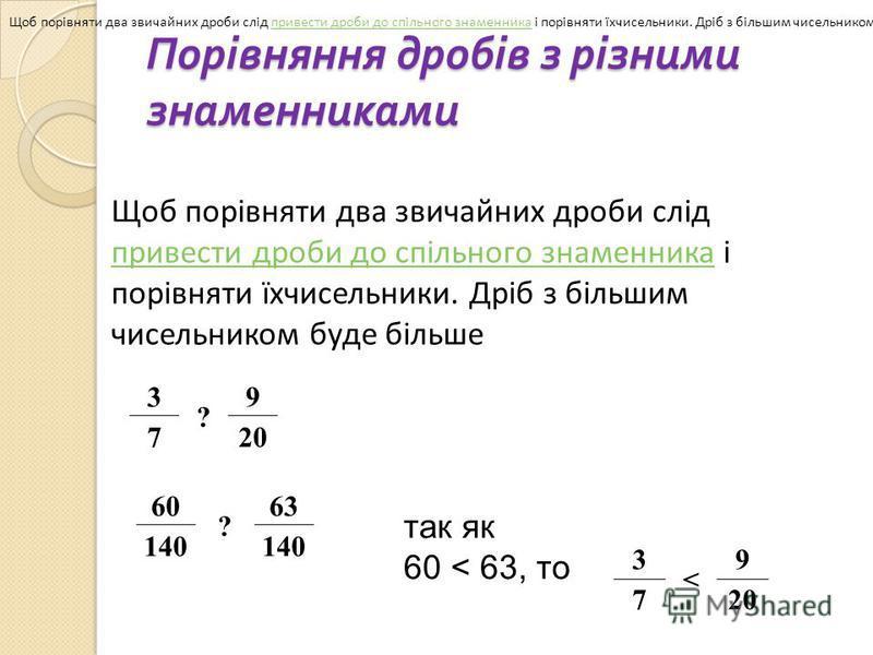 Порівняння дробів з різними знаменниками Щоб порівняти два звичайних дроби слід привести дроби до спільного знаменника і порівняти їхчисельники. Дріб з більшим чисельником буде більше.привести дроби до спільного знаменника Щоб порівняти два звичайних