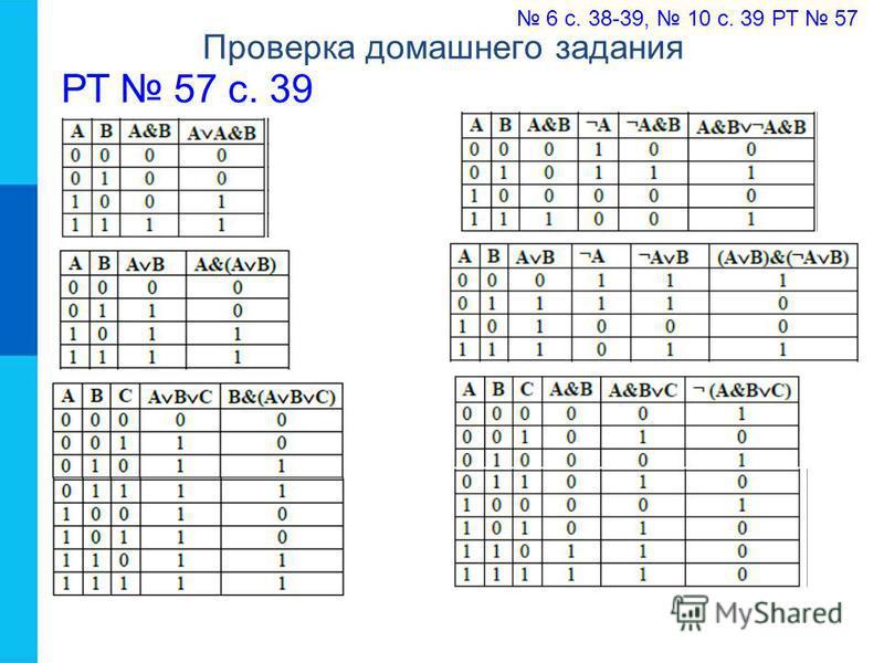 Проверка домашнего задания 6 с. 38-39, 10 с. 39 РТ 57 РТ 57 с. 39