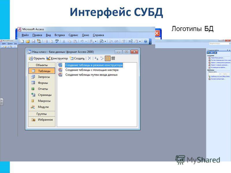 Интерфейс СУБД Логотипы БД