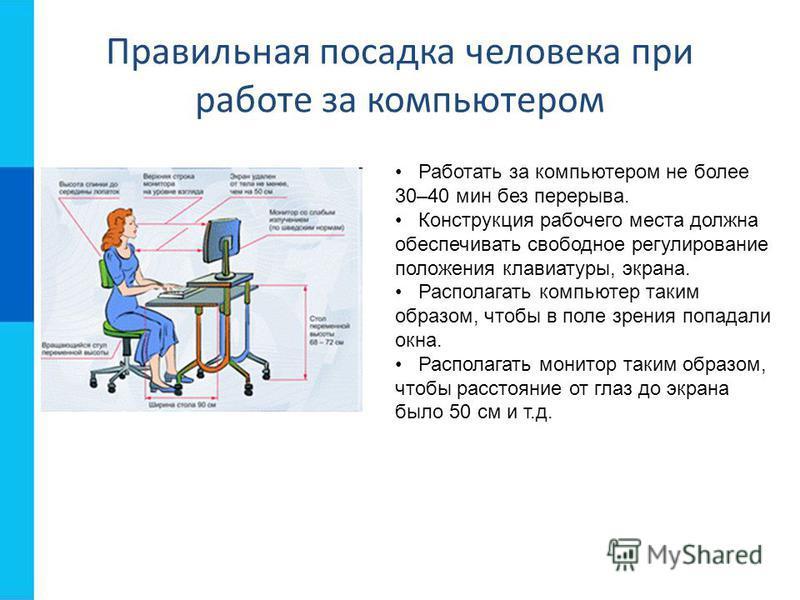 Правильная посадка человека при работе за компьютером Работать за компьютером не более 30–40 мин без перерыва. Конструкция рабочего места должна обеспечивать свободное регулирование положения клавиатуры, экрана. Располагать компьютер таким образом, ч