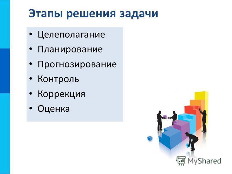 Целеполагание Планирование Прогнозирование Контроль Коррекция Оценка Этапы решения задачи