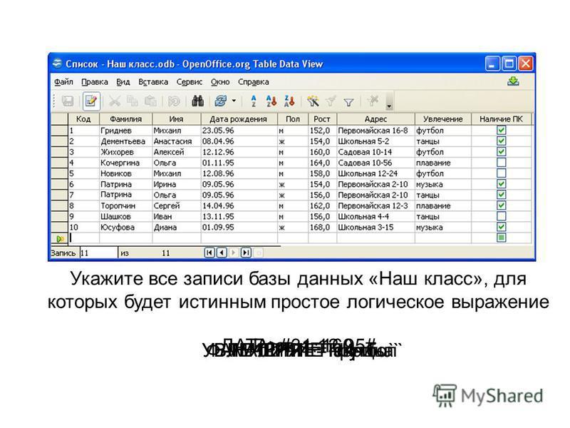 Укажите все записи базы данных «Наш класс», для которых будет истинным простое логическое выражение Рост <=160 УВЛЕЧЕНИЕ=`футбол`ФАМИЛИЯ=`Патрина`УВЛЕЧЕНИЕ=`танцы` ДАТА>#31.12.95# НАЛИЧИЕ ПК=1