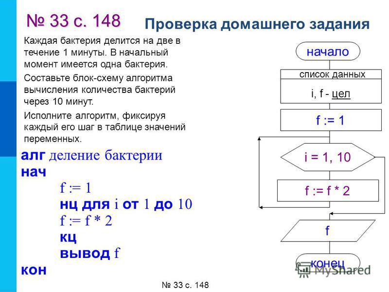 Проверка домашнего задания 33 с. 148 33 с. 148 33 с. 148 Каждая бактерия делится на две в течение 1 минуты. В начальный момент имеется одна бактерия. Составьте блок-схему алгоритма вычисления количества бактерий через 10 минут. Исполните алгоритм, фи