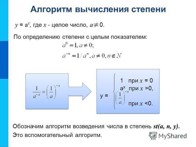 Алгоритм вычисления степени y = a x, где x - целое число, a 0. 1 при x = 0 a x при x >0, y = при x <0. Обозначим алгоритм возведения числа в степень st(a, n, y ). Это вспомогательный алгоритм. По определению степени с целым показателем: