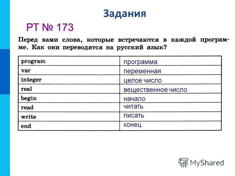 Задания РТ 173 программа переменная целое число вещественное число начало читать писать конец